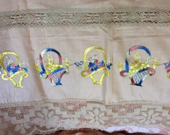 Art Deco Bedcover Piece, Large Linen, Net Lace and Hand Embroidery, for repurpose as a Valance, Runner or Other, Pristine!