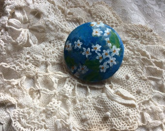 Vintage Large Fabric Button Hand Painted, From Old Satin Pillow