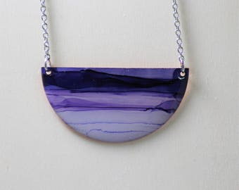 Half Moon Purple & Light Purple Hand Painted Necklace