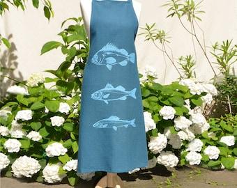 linen apron with turquoises fishes, maritim, eco friendly colors, unisizze