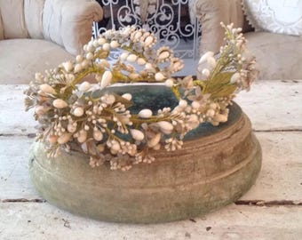 Antique French Faded Green Velvet Plateau Stand