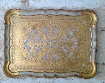 Large Antique Gold & White Italian Florentine Tray