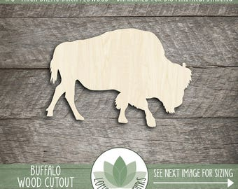 Wood Bison Shape, Unfinished Wood Bison Buffalo Laser Cut Shape, DIY Craft Supply, Many Size Options