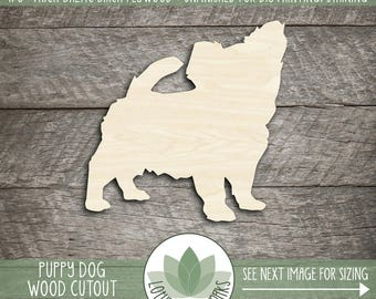 Wood Puppy Shape, Unfinished Wood Puppy Laser Cut Shape, DIY Craft Supply, Many Size Options
