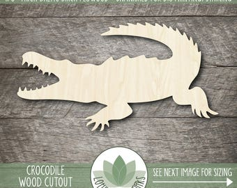Wood Crocodile Laser Cut Shape, Wooden Crocodile Cut Out, Crocodile Party Decoration, DIY Craft Supply, Many Size And Shape Options