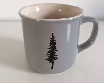 Ceramic Grey Camp Mug - Hand Drawn