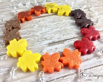 Glitter Leaf Earrings, Leaf Earrings, Maple Leaf Earrings, Fall Earrings, Autumn Earrings, Thanksgiving Earrings, Polymer Clay Earrings