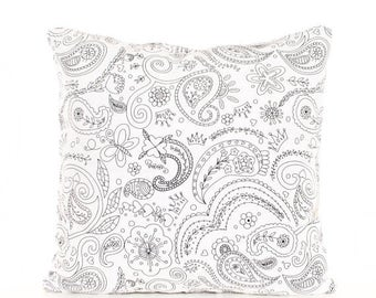SALE ENDS SOON Paisley Color Me Pillow, Kids Craft Pillow, Diy Pillow Cover, Baby Shower Activity, Mom and Daughter, Pillow for Your Kids to