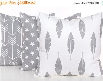 SALE ENDS SOON Gray Nursery Pillows, Set of Three Pillow Covers, Kids Room Decor, Gray and White Pillowcases, Arrows, Feathers, Star Pillow