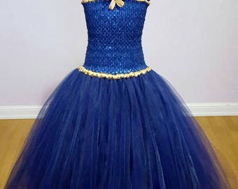 "sale 50 euros instead of 78.Robe special ""Sapphire"" blue and gold tutu party girls 8 to 12 years"