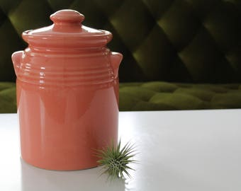 Spring Coral Jar, Cookie jar, plant jar, shabby chic decor, peach canister, ceramic jar, kitchen storage, airtight lid, spring kitchen,