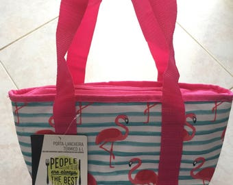 TROPICAL FLAMINGO • Lunch Bag Tote Insulated - Cooler Carry Bag - Ideal for Beach, Picnic, School