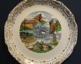 Vintage North Carolina The Tar Heel State State Souvenir Plate