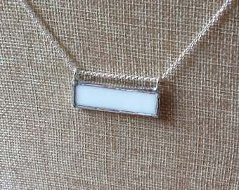 White stained glass bar necklace