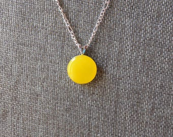 Yellow stained glass pendant