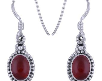 Women 925 Sterling Silver Carnelian Gemstone Earrings