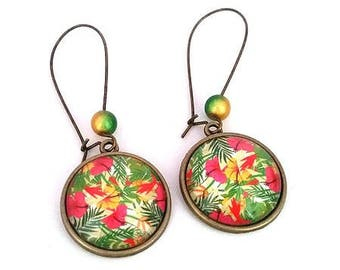 Floral earrings • tropical glass cabochon
