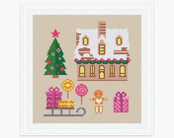 Sweet Home cross stitch pattern pdf, Modern cross stitch, Christmas House instant download, Holiday cross stitch, 002