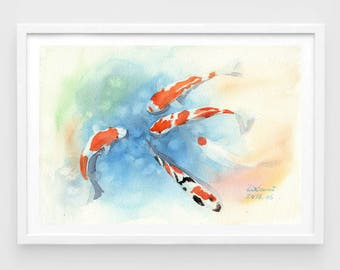 "Original watercolor,fish koi,good luck charm,original painting,8""3x11""8,home decor"