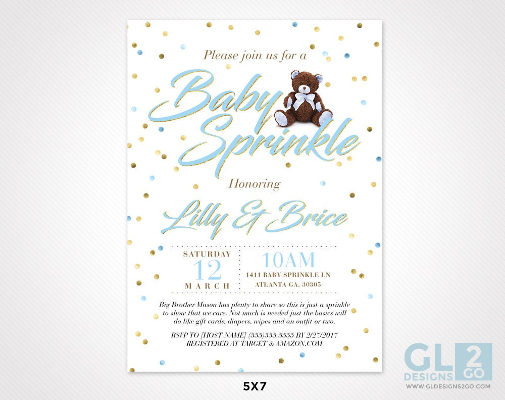 Baby Sprinkle Invitation w/ Teddy Bear. White, Blue, Brown & Gold ...