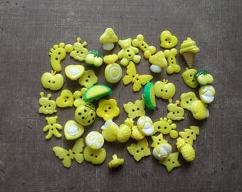 60 buttons as animals Fruit flower yellow color
