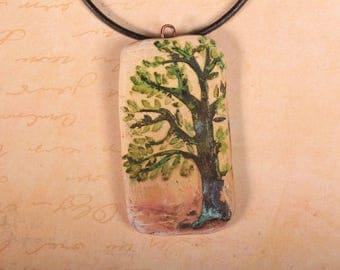 Rusty tree on polymer clay pendant
