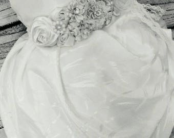 Gorgeous couture flower girl dress,custom side pick up ivory flower girl dress,couture ivory feather flower girl dress,couture bridal dress