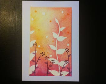 Handmade, handpainted, floral, blank greetings card.