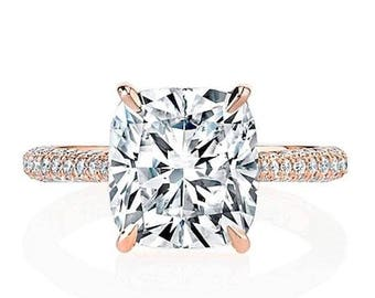 Cushion Cut Forever One  Moissanite Engagement Ring