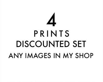 set of 4 fine art prints, any images in my shop printed, discounted set, 8x8, 5x5, 11x14, photography prints, nursery wall art, your choice