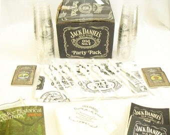 Vintage Jack Daniel's Old No 7 Party Pack, Tennessee Whiskey, Party Favors, Stir Swizzle Stick, Tablecloth, Cups, Napkins, Sponges, Coasters