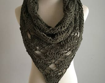 Triangle Cowl in Fern Green / Crochet Scarf & Cowl / Cotton Yarn
