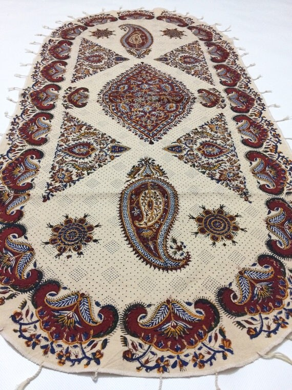 Oval tablecloth, paisley design handmade fabric, natural textile with tassels
