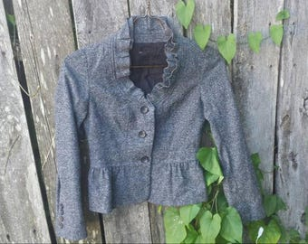 Gray blazer jacket/vintage jacket/vintage blazer/wool blazer/wool jacket/women's blazer/women's jacket