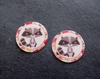 "Set of 2 cabochon resin 25mm ""Raccoon raccoon"" C221"