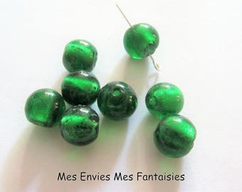 8 hole green 12mm round Lampwork beads + /-1 mm