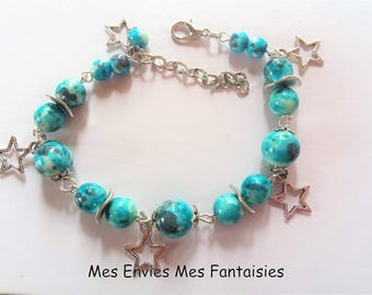 Bracelet Bohemian beads blue jade and grey Medley star