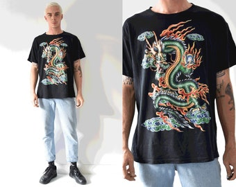Oriental Blazing Dragon Flame Shirt/ 90s Dragon Black Crew Neck Tshirt