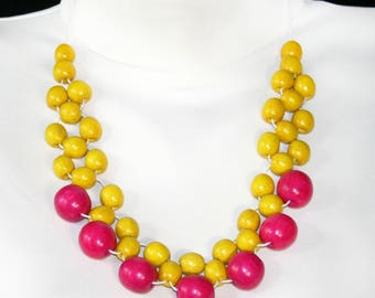 Colorblock necklace Statement Necklace Bib Necklace Сolorful yellow pink beach wooden necklace  simple jewelry gift idea bib necklaces
