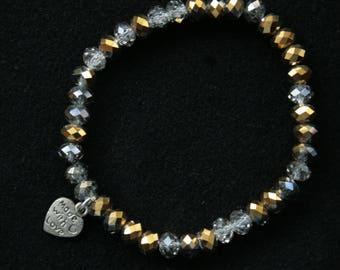 Charm bracelet pendant heart crystal  bracelet stretchy beads bracelet multi color bracelet gold crystal silver bead bracelet gift