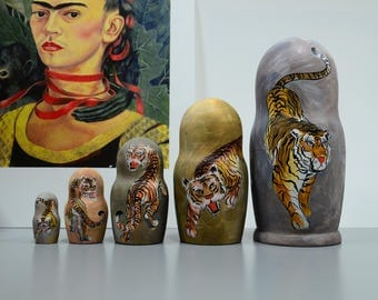 Hand Painted Russian Nesting Doll Matryoshka Chinese Tigers, Made In Russia, Free Shipping