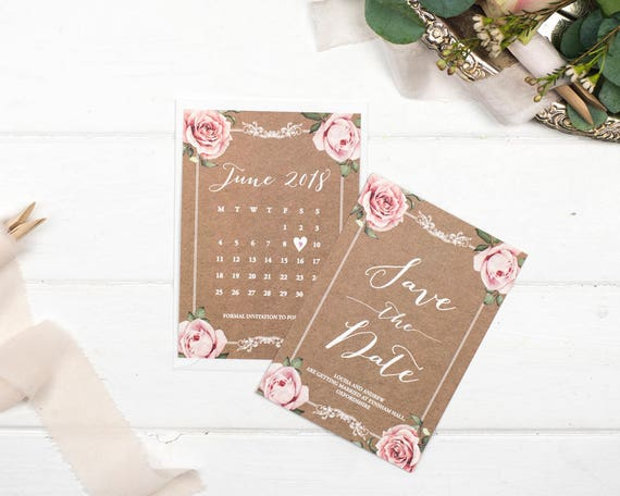 Vintage Save The Date Card - A6 Kraft Floral Framed