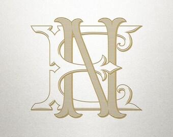 Custom Vintage Initials - EN NE - Vintage Initials - Digital
