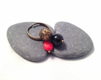 Ring Trio black red and Bronze