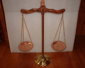 "Brass, Copper And Hardwood Usable Scales Of Justice / Balancing Scale 16 1/2"" Tall"