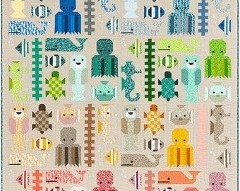 Sale Awesome Ocean Quilt Pattern by Elizabeth Hartman - Fat Quarter or Scrap Friendly Pattern