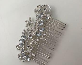 Beautiful rhinestone metal comb / bridah hair comb / metal com / pale blue rhinestone detail