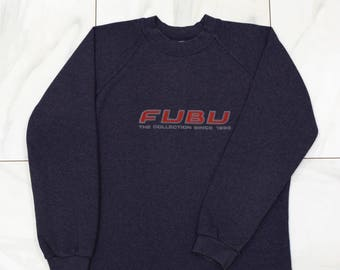 FUBU sweatshirt, vintage longsleeve sweat shirt of 90s hip-hop clothing, 1990s hip hop shirt, OG, gangsta rap, hoodie, size S Small
