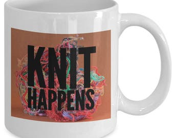 KNIT HAPPENS - Funny Mug for Knitters - Knitting Gift - Tangled Yarn - 11 oz White Coffee Tea Cup