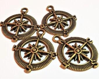 8 compass charm pendant bronze jewelry